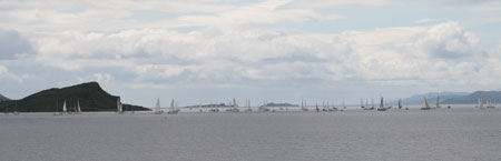 Yachts line up for the start of the West Highland Yachting Week