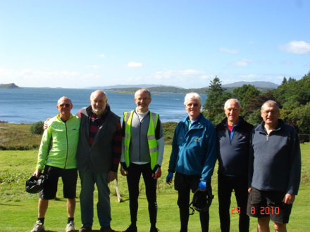 The Joglers enjoying the magnificent weather and scenery at Loch Melfort Hotel.