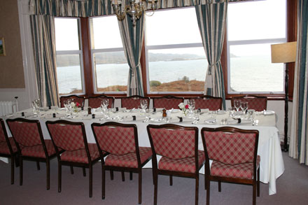 The fantastic sea view and table set for the wedding feast.