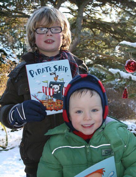 Ben and Hugh with their early Christmas gifts from Santa.