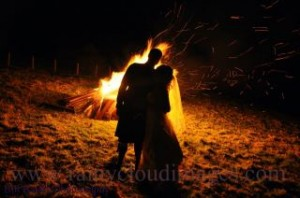 Bonfire at a Loch Melfort Hotel wedding