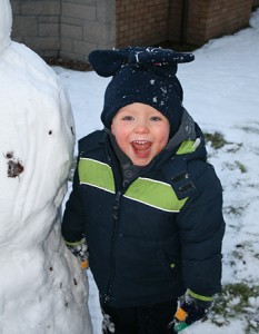 Winter fun in the snow at Loch Melfort Hotel.