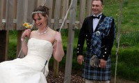 Bride and Groom in playpark