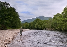 Fly fishing on the River Orchy west of Dalmally church bridge