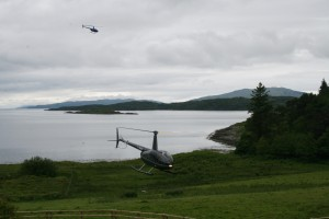 The helicopter landing at the front of the hotel