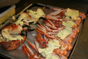 Delicious crab and langoustine as part of our seafood buffet at Loch Melfort Hotel