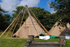 Pitching the tipis in the Loch Melfort Hotel grounds.