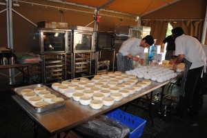 The Loch Melfort chefs busy in the kitchen tipi.