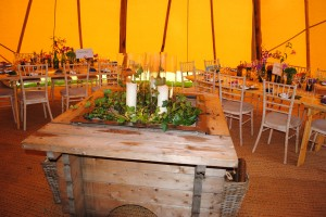 The tipi ready for the bride and groom.