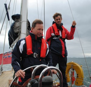 Loch Melfort Hotel owner Calum Ross at the Bloodhound helm.