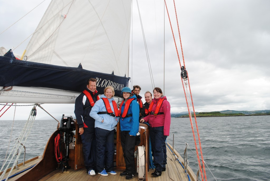 The Loch Melfort Hotel team aboard Royal Racing Yacht Bloodhound.