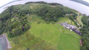 Panoramic aerial photo of Loch Melfort Hotel and Firth of Lorne